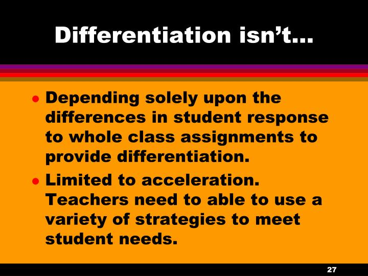 Differentiation isn't…