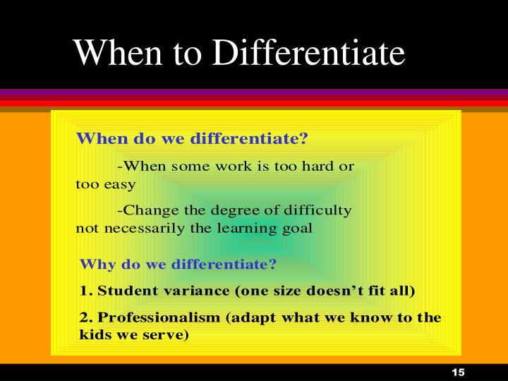 When to Differentiate