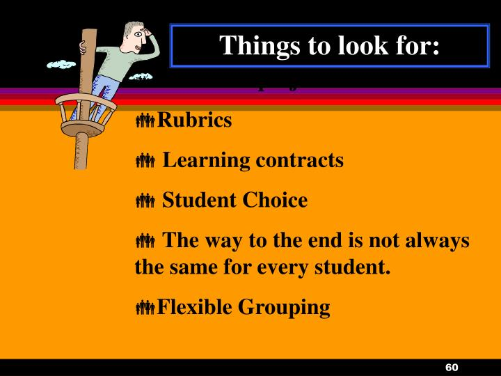 Things to look for: