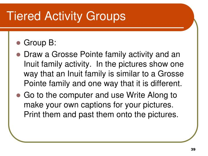 Tiered Activity Groups