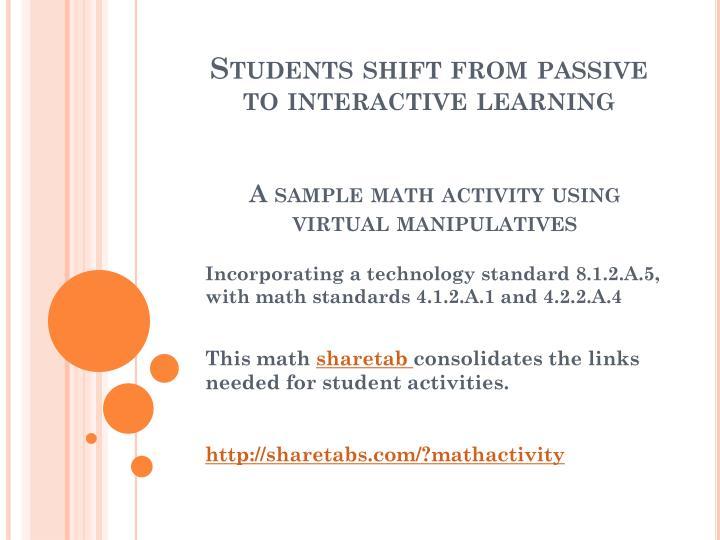 A sample math activity using virtual manipulatives