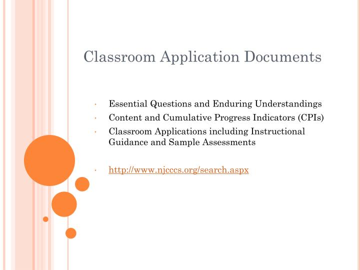 Classroom Application Documents