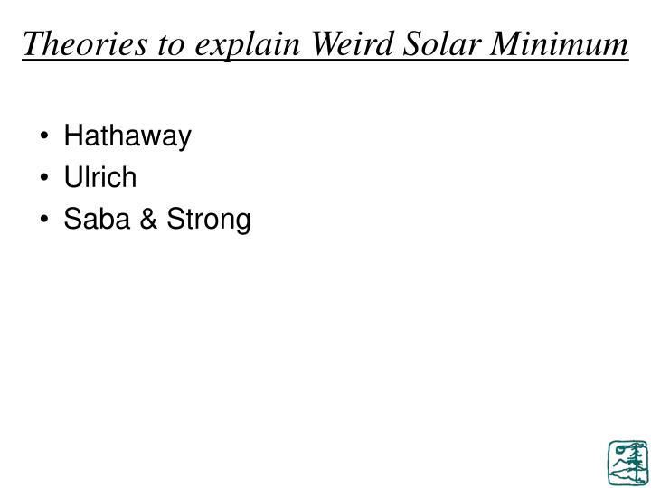 Theories to explain Weird Solar Minimum