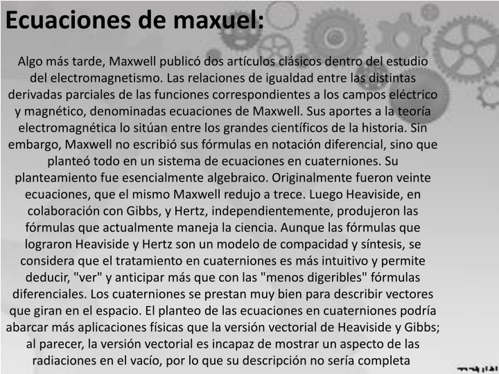 Ecuaciones de maxuel: