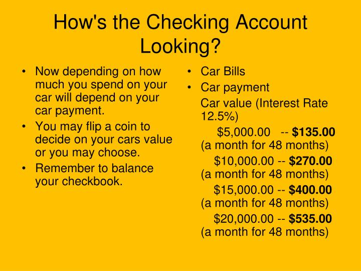 Now depending on how much you spend on your car will depend on your car payment.