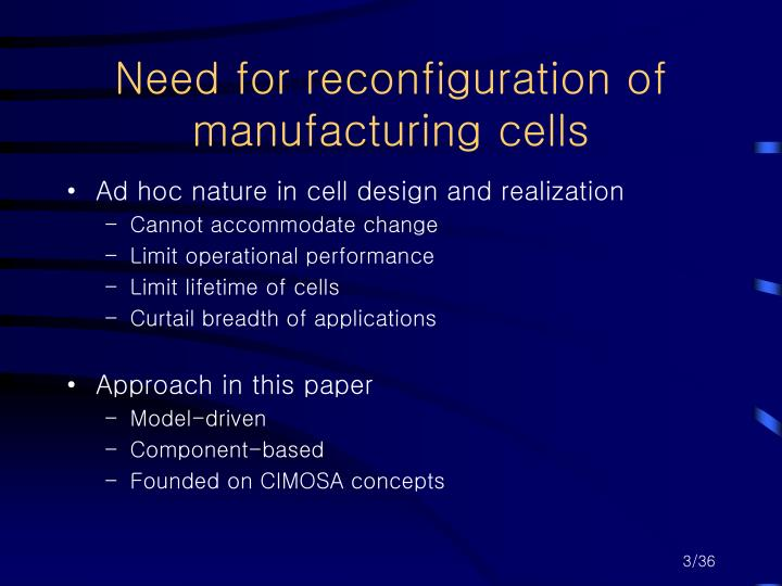 Need for reconfiguration of manufacturing cells