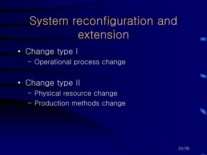 System reconfiguration and extension