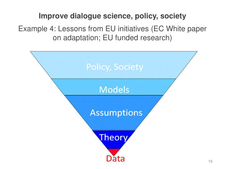 Improve dialogue science, policy, society