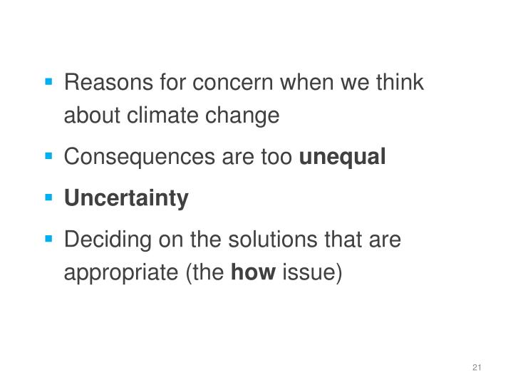 Reasons for concern when we think about climate change