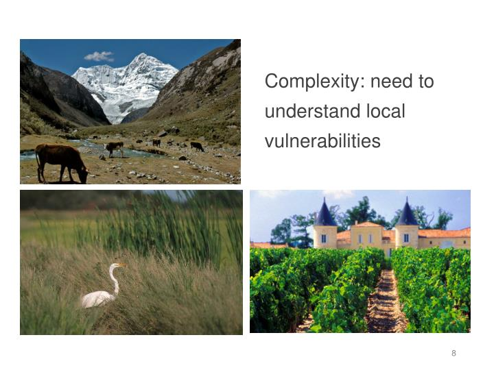 Complexity: need to understand local vulnerabilities