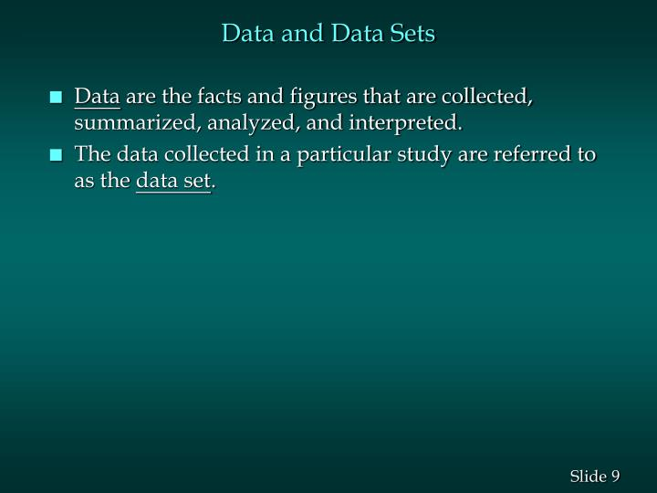 Data and Data Sets