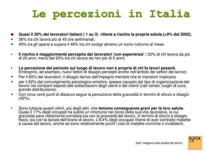 Le percezioni in Italia