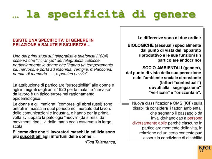 … la specificità di genere