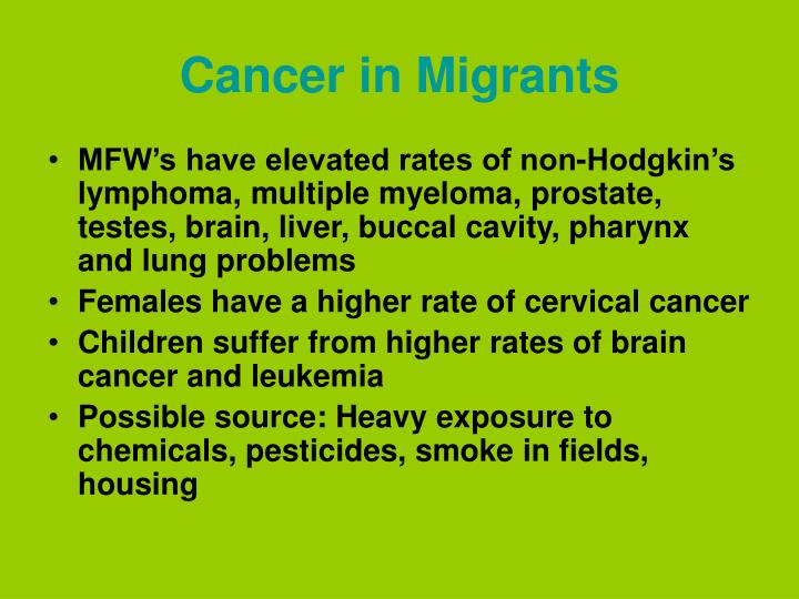 Cancer in Migrants