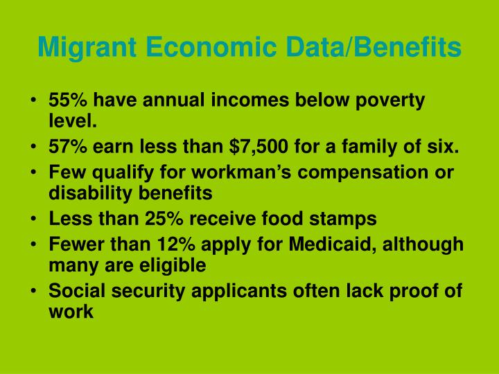 Migrant Economic Data/Benefits