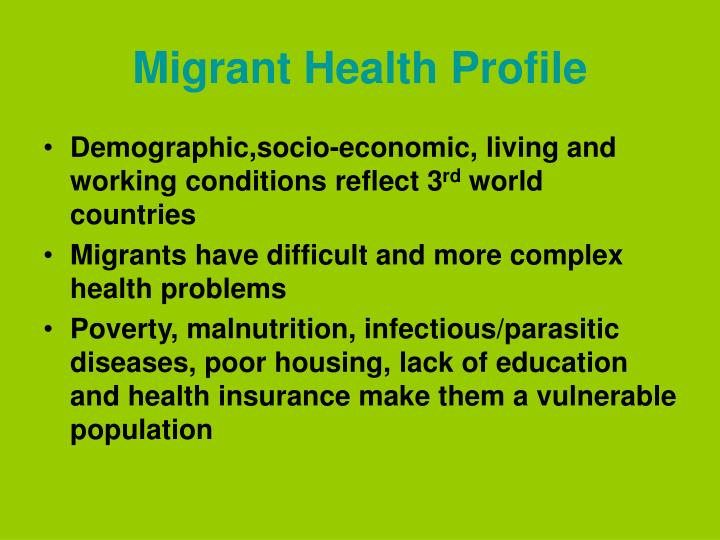 Migrant Health Profile
