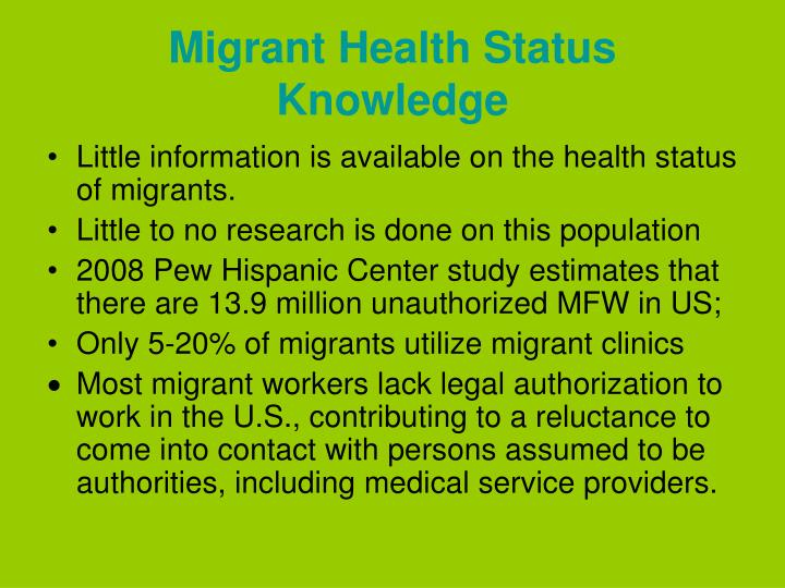 Migrant Health Status Knowledge