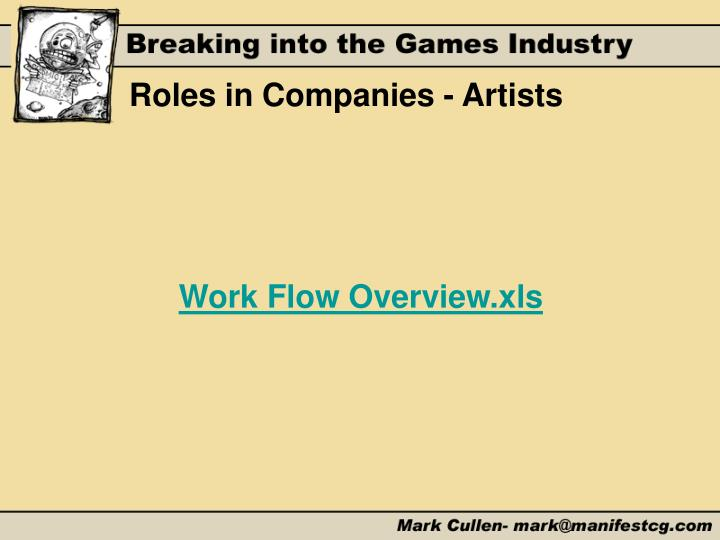 Roles in Companies - Artists