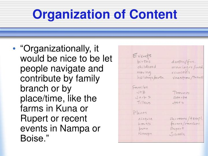 Organization of Content