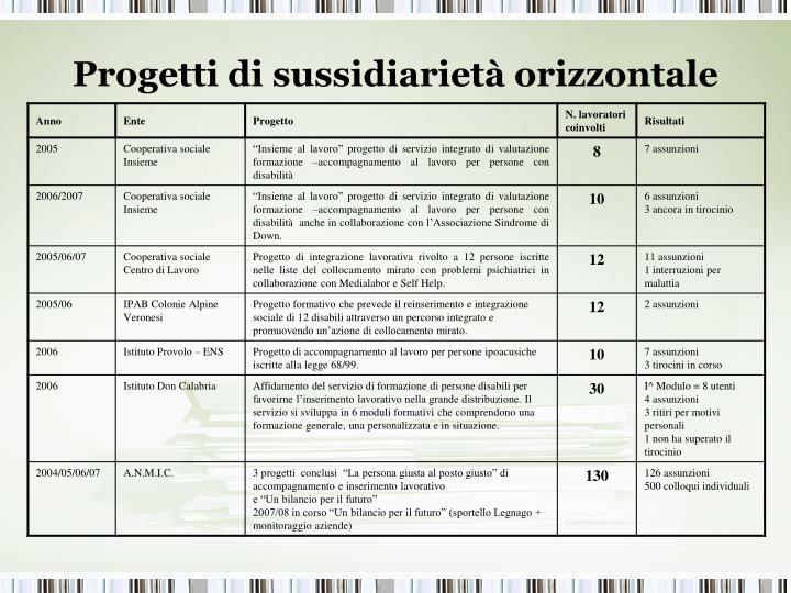 Progetti di sussidiarietà orizzontale