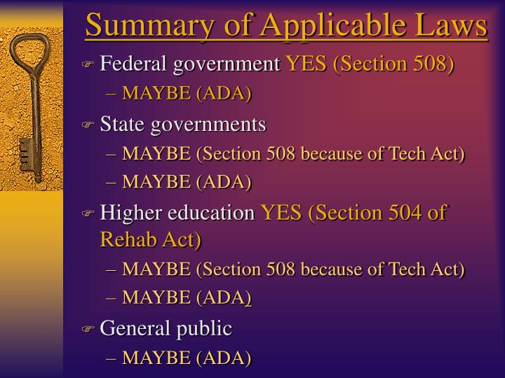 Summary of Applicable Laws