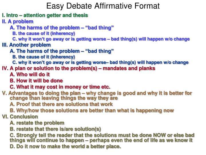 Easy Debate Affirmative Format