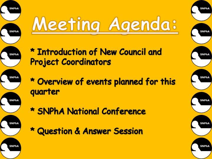 Meeting Agenda:
