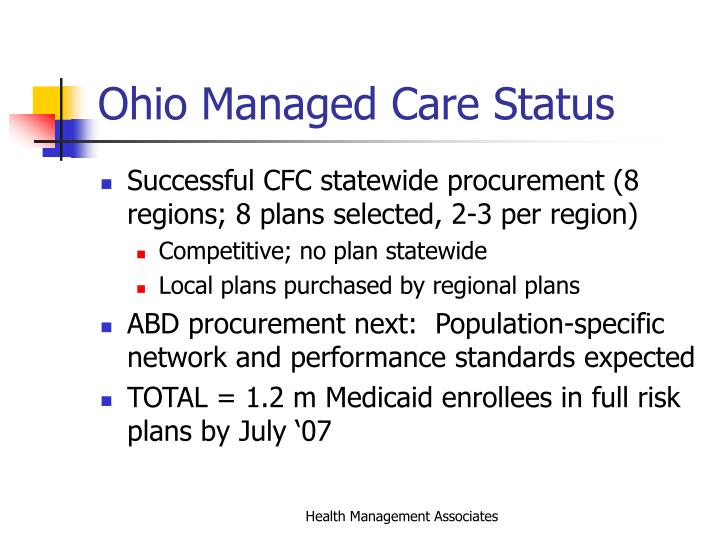 Ohio Managed Care Status