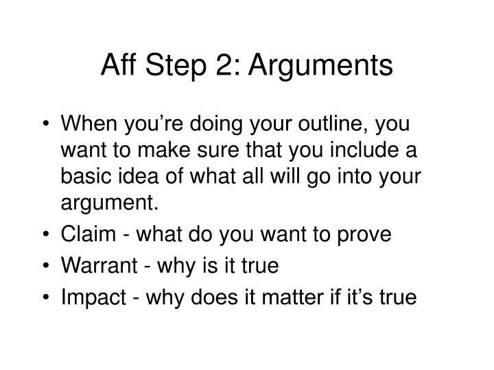 Aff Step 2: Arguments