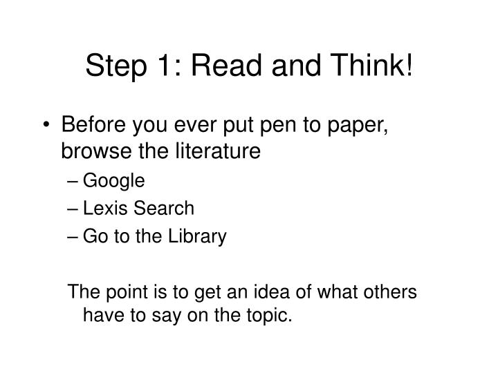 Step 1 read and think
