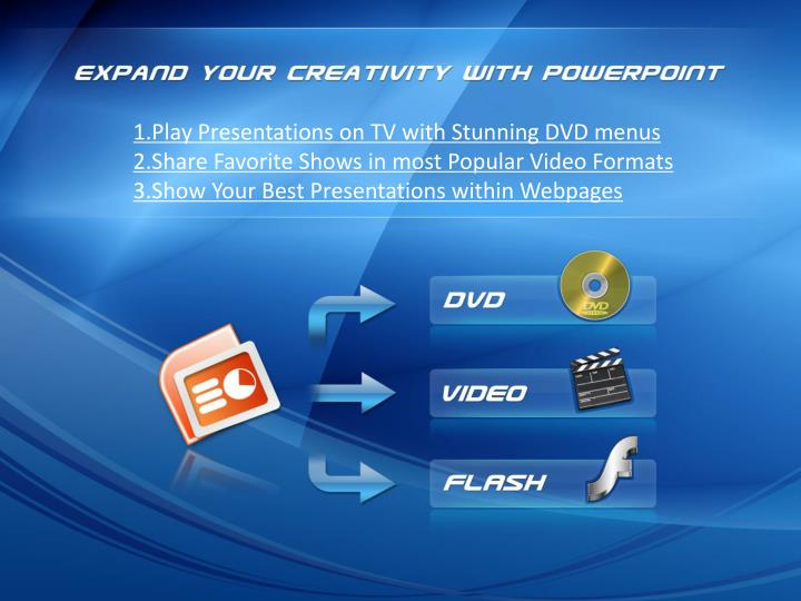 1.Play Presentations on TV with Stunning DVD menus