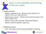 amy is a new graduate just moving to her new career