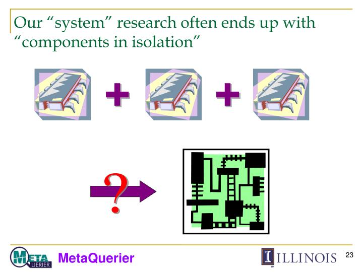 "Our ""system"" research often ends up with ""components in isolation"""
