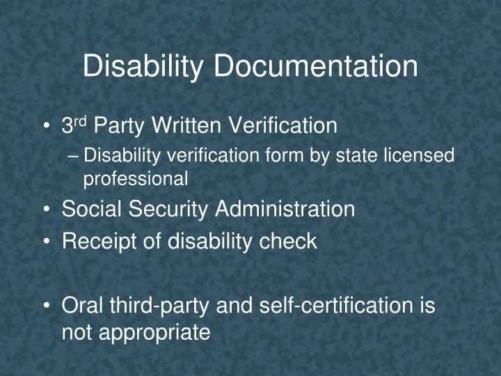 Disability Documentation