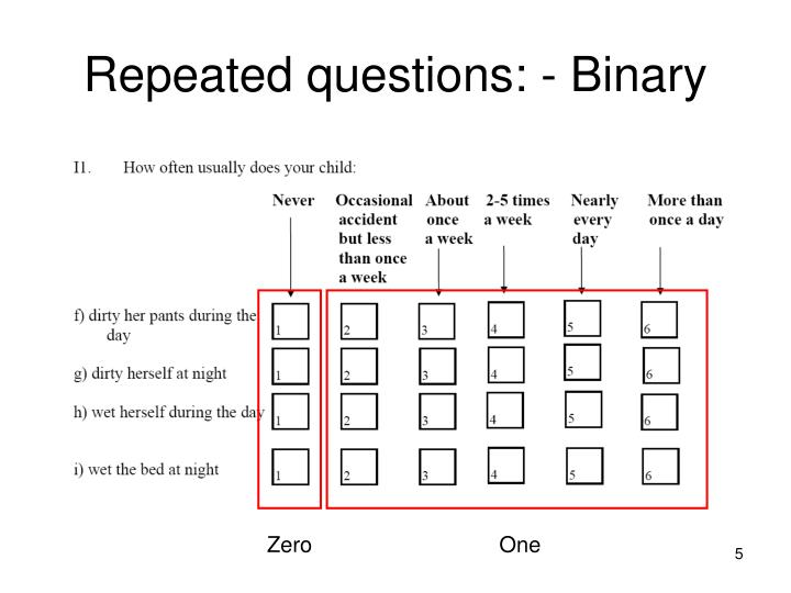 Repeated questions: - Binary