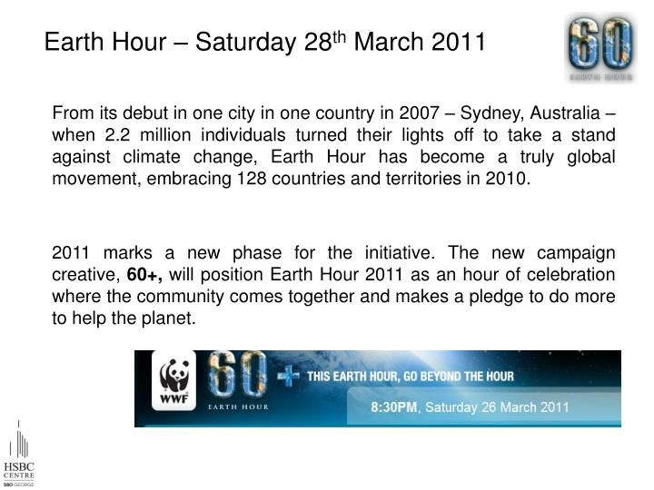 Earth Hour – Saturday 28