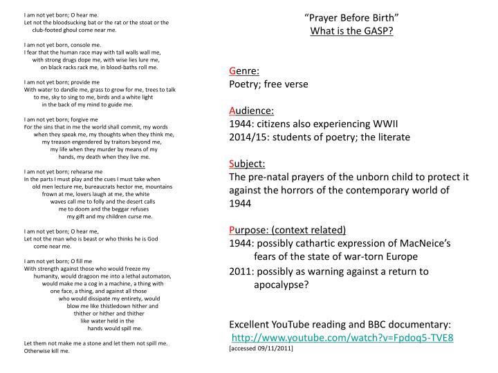 """Prayer Before Birth"""