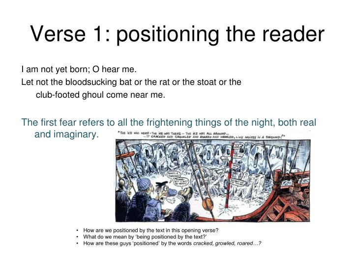 Verse 1: positioning the reader