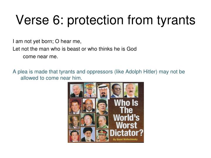 Verse 6: protection from tyrants