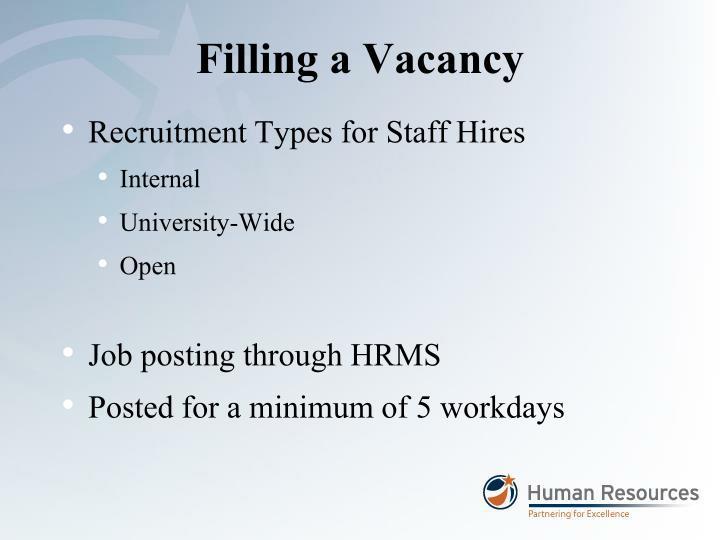 Filling a Vacancy