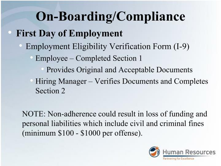 On-Boarding/Compliance