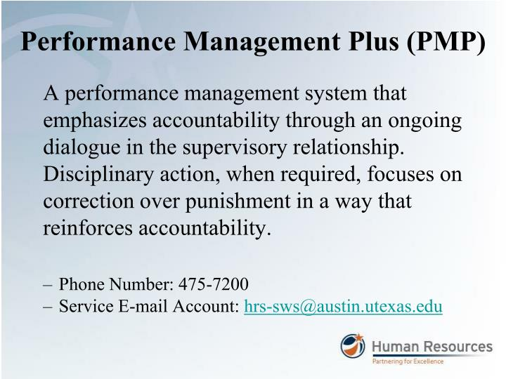 Performance Management Plus (PMP)