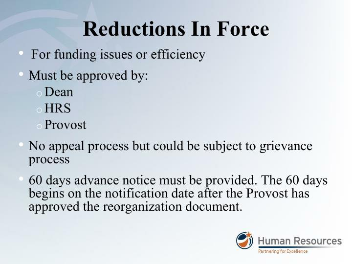 Reductions In Force