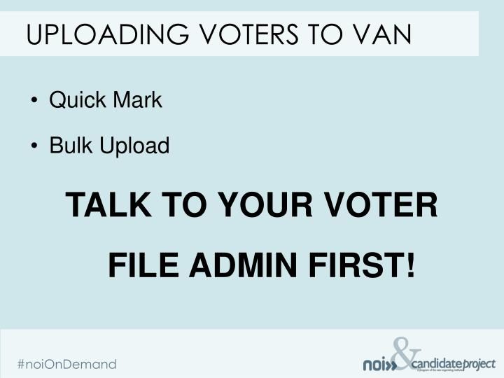Uploading voters to van