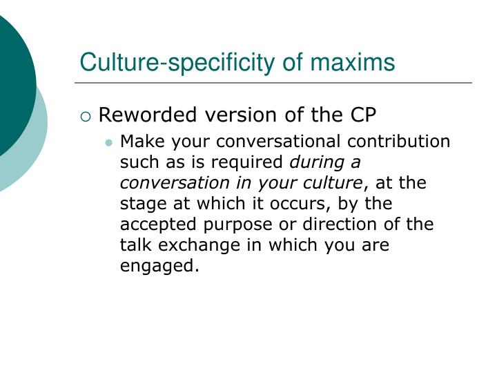 Culture-specificity of maxims