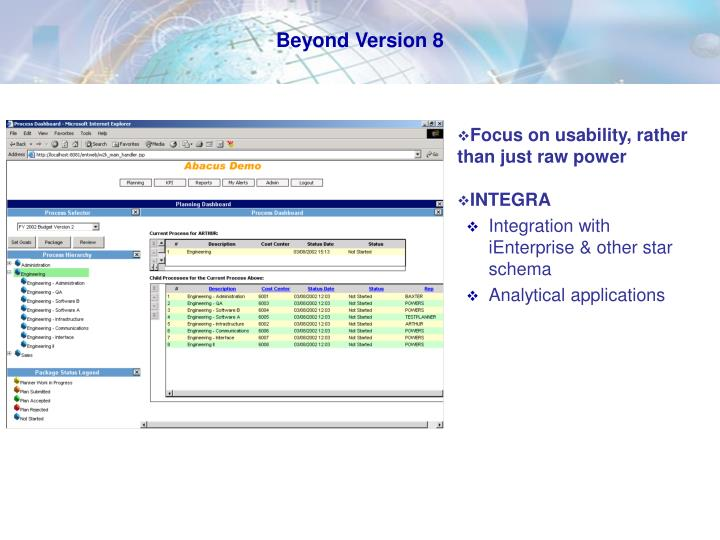 Beyond Version 8