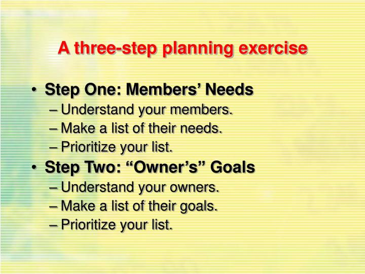 A three-step planning exercise
