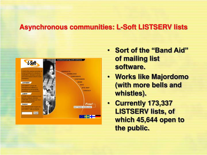 Asynchronous communities: L-Soft LISTSERV lists