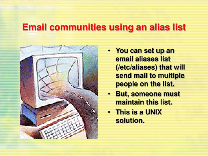 Email communities using an alias list