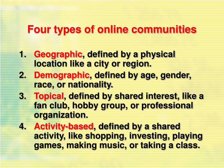 Four types of online communities